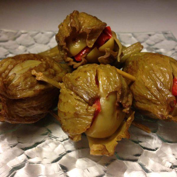 Aubergine d'Almagro farcie au poivron
